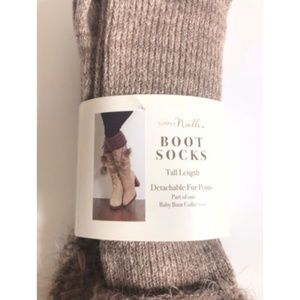 Simply Noelle Tall Boot Faux Fur Pom Boot Socks NEW